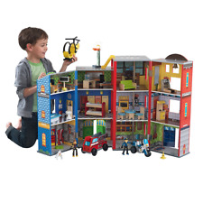 Everyday Heroes Play Set For Kids, Toy Police Station, Fire Fighter Base, Truck