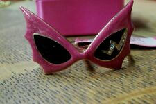 BETSEY JOHNSON CAT/BAT/THUNDER-BOLT EYEGLASSES PINK ENAMEL 2-FINGER DOUBLE RING