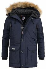 Geographical Norway Herren Winterparka Booster blau XL Jacke Outdoor Mantel