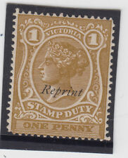 Stamp duty 1d brown queen Victoria sideface with REPRINT overprint, MH lovely