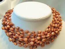(HONG KONG) INCREDIBLE Vintage Multi-Strand CARAMEL TAN Bead Necklace 13EN174