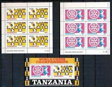 Tanzania 3 velletjes motief schaken postfris