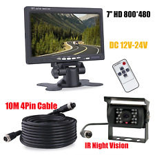"7"" Monitor 4 Pin Night Vision Reverse Camera For Heavy Duty RV Truck Bus Carvan"
