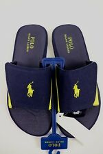 NWT POLO RALPH LAUREN Size 9 Mens Navy Yellow Canvas ALIM PONY Slip On Flip Flop