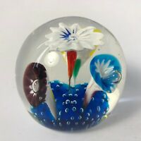 Vintage Mid Century Signed Murano Abstract Flowers Art Glass Paperweight