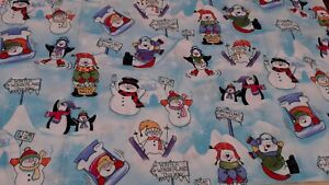 New  100% Cotton Fabric Playful Snow Men Winter Fun Design  - W 144  x L 46 cm