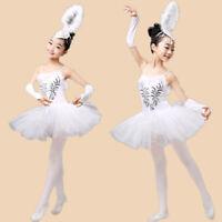 Kids Girls Ballet Dance Gymnastics Dress Tutu Swan Lake Leotard Skirt Dancewear