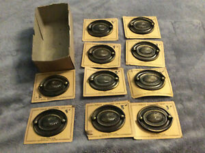 10 VINTAGE METAL DRAWER PULLS - ORIGINAL OLD HARDWARE STORE CARDS