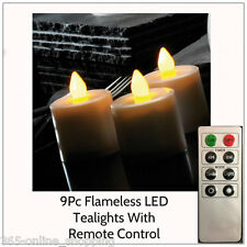 9PC FLICKERING FLAME EFFECT LARGE LED TEALIGHTS WITH REMOTE CONTROL + BATTERIES