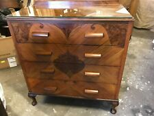 More details for art deco walnut chest four drawers with stylised inlays c.1930