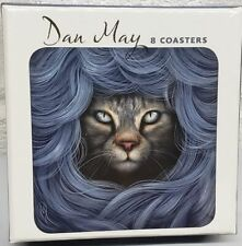 """Set of 8 Laminated Cork Back Coasters (4""""x4"""") Cat In Disguise, Ripple,May, Pom."""