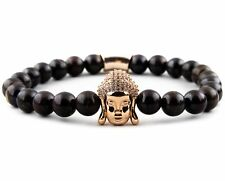 Tiger Iron Gemstone & 18K Rose Gold Buddha with Micro Pave CZ