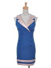 Women S/M Fit Blue Pink Retro Flight Attendant Inspired Conservative Dress