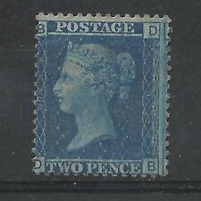 GREAT BRITAIN QUEEN VICTORIA GB QV 1858 2d BLUE PLATE 9 POSITION DB MINT NO GUM