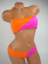 Victoria Secret Swim Wear Suit Bikini Bottom Top Pink Orange Bandeau XS/M