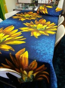 Vintage Set of two 1970s Bold German Sunflower Curtain Fabric Panels XL