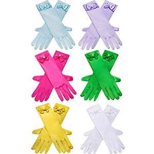 Zhanmai 6 Pairs Girls Satin Gloves Princess Dress Up Bows Long Formal Party, 3 8