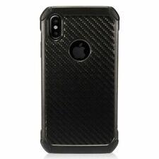 For iPhone XR Black Carbon Fiber Hard TPU Hybrid Dual Layer Plastic Case Cover