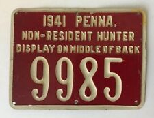 1941 PA Pennsylvania Non Resident Hunting License #9985 PGC Game Commission RARE