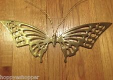 """Large 15x5"""" Brass Butterfly Wall Decor Vintage India"""