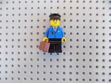 Lego Minifigure Town City Airport Airplane Pilot w/ Black Hat, Brown Briefcase