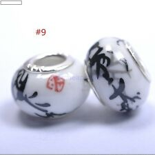 5pcs DIY Ceramic / Procelain European Charm Loose Craft Beads black Flowers #9