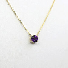 Dainty February Birthstone Natural Amethyst Pendant Necklace 14K Solid Gold
