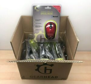 Pack of 6 Gear Head Universal Bluetooth Wireless Optical Mouse Red (MBT9650RED)
