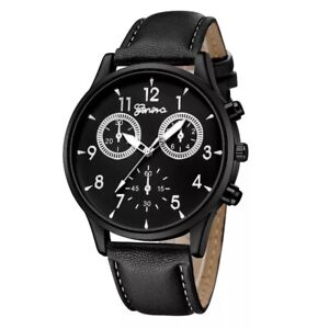 Mens Watches Gents Wrist Watch Black Faux Leaher Quartz Anlogue Fashion Casual