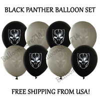 """16 LARGE 12"""" Latex Black Panther Themed Balloons ~ Birthday Party Decorations"""