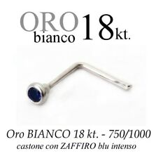 Piercing naso nose in ORO BIANCO white GOLD 18kt. con ZAFFIRO intenso SAPPHIRE
