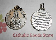 Saint St Lucy  Silver Tone Round - Medal with Prayer.