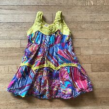 BABY NAY Adorable Pink Blue Yellow Red Floral/Paisley Print Girls Dress Size 3T