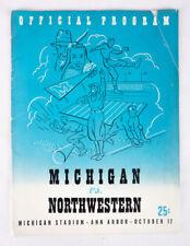 Original 1942 College Football Program Michigan vs Northwestern Oct 17