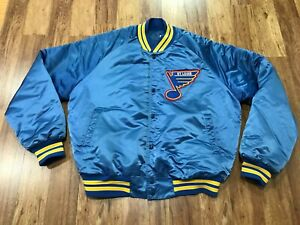 MENS LARGE Vtg 1991 NHL St. Louis Blues Chalk Line Sewn Quilted Snap Jacket USA