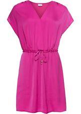 Satinkleid Gr. 50 fuchsia Minikleid Sommerkleid V-Neck Kleid corimano