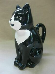 Vintage Ceramic Jug in the Form of a Black & White Cat ~Mouth Spout, Tail Handle