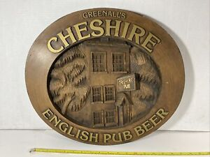 Vintage Greenall's Cheshire English Pub Beer Sign 3D Foam Relief Carved Brown