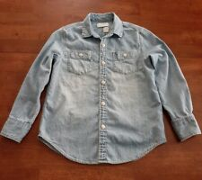 Crewcuts Boys Long Sleeve Shirt Size 8 Blue Chambray Button Down Denim Look