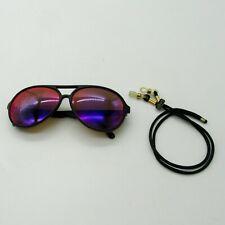 Vintage 80s REVO Grand Venture Aviator Sunglasses Black Frame Purple Mirror Lens