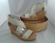 Montego Bay Club Wedge Platform Canvas Sandals Shoes Zip Backs Open Toe Size 10