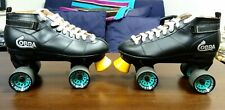 Roller Derby Cobra Roller Skates Mens Size 8 Black With Riptide Raw Speed Wheels