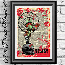 Gothic Zombie dictionary book page mounted mad hatter alice in wonderland decor