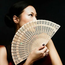 Chinese Bamboo Folding Hand Fan Wedding Party Flower Pattern Vintage Wooden Sn