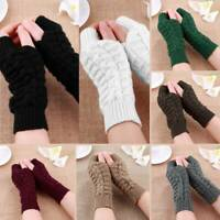 Ladies Women Soft Fingerless Knitted Gloves Winter Arm Wrist Warmer Knit Mitten