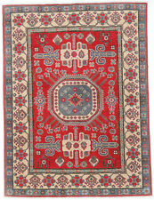 5x7 Hand-Knotted Kazak Carpet Tribal Red Fine Wool Area Rug D57148