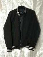 HOLLISTER MENS VARSITY BOMBER SIZE Medium JACKET COAT BLACK zip up