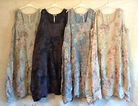 """New Plus Size Linen Lagenlook Quirky FLORAL Balloon Shaped Boho Tulip Dress 52"""""""