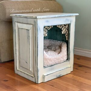 Farmhouse, Pet Bed, Side Table, End Table, Nightstand, Small, Dog House, Cat Bed