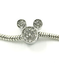1pcs Silver Mickey European Charm Crystal Spacer Beads Fit Necklace Bracelet ~~~